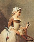 jean-Baptiste-Simeon Chardin Young Girl with a Shuttlecock oil painting artist