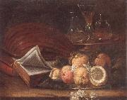 unknow artist Still life of a lute,books,apples and lemons,together with a gilt tazza with a wine glass and decanters,all upon a stone ledge oil painting picture wholesale