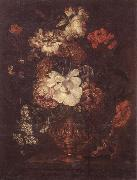 unknow artist Still life of Roses,Carnations,Daisies,peonies and convulvuli in a gilt vase,upon a stone ledge oil painting picture wholesale