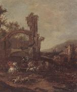 unknow artist An architectural capriccio with a cavalry engagement,a landscape beyond oil painting picture wholesale
