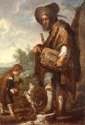 unknow artist A Blind man playing a hurdy-gurdy,together with a young boy playing the drums,with a dancing dog oil painting picture wholesale