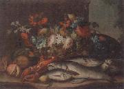 unknow artist Still life of a basket of flowers,fruit,lobster,fish and a cat,all upon a stone ledge oil painting picture wholesale