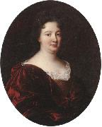 unknow artist Portrait of a landy,said to be marie de pontchartrin,half length,wearing a red velvet mantle over a gold braided dress and lace shirt oil painting picture wholesale