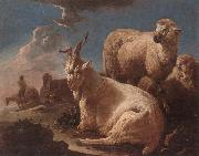 unknow artist An evening landscape with goat and sheep resting in the foreground,a herdsman beyond oil painting picture wholesale