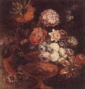 unknow artist Still life of chrysanthemums,lilies,tulips,roses and other flowers in an ormolu vase oil painting picture wholesale