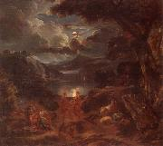 unknow artist A pastoral scene with shepherds and nymphs dancing in the moonlight by the edge of a lake oil painting picture wholesale
