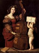 Domenichino Sainte Cecile avec un ange tenant une partition musicale oil painting picture wholesale