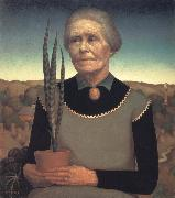 Grant Wood Woman with Plant oil painting artist