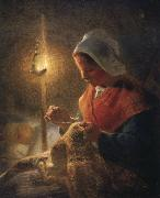 Jean Francois Millet Woman sewing by lamplight oil painting artist