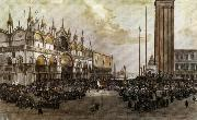 Luigi Querena The People of Venice Raise the Tricolor in Saint Mark's Square oil painting picture wholesale
