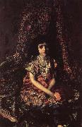 Mikhail Vrubel Girl Against a perslan carpet oil painting picture wholesale