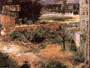 Adolph von Menzel Rear of House and Backyard oil painting