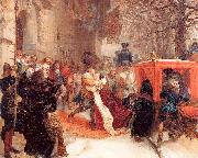 Adolph von Menzel Gustav Adolph Greets his Wife outside Hanau Castle in January 1632 Spain oil painting artist