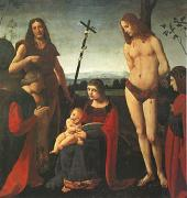 BOLTRAFFIO, Giovanni Antonio The Virgin and Child with Saints John the Baptist and Sebastian Between Two Donors (mk05) oil painting picture wholesale