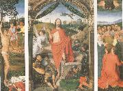 Hans Memling The Resurrection with the Martyrdom of st Sebastian and the Ascension a triptych (mk05) oil painting picture wholesale