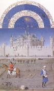 LIMBOURG brothers The medieval Louvre is in the background of the October calendar page (mk05) oil painting picture wholesale