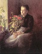 Lord, Caroline A. Woman with Geraniums oil painting artist