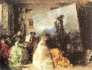 Marques, Francisco Domingo Interior of Munoz Degrain's Studio in Valencia oil painting artist