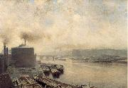Meckel, Adolf von British Gas Works on the River Spree oil painting artist