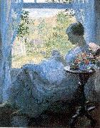 Melchers, Gari Julius Young Woman Sewing oil painting artist