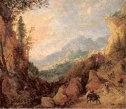 Momper II, Joos de Mountainous Landscape with a Bridge and Four Horsemen oil painting picture wholesale