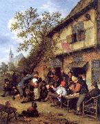 Ostade, Adriaen van Merrymaking Outside an Inn oil painting artist