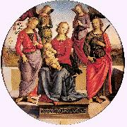 PERUGINO, Pietro Madonna Enthroned with Child and Two Saints oil painting picture wholesale