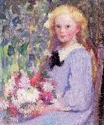 Palmer, Pauline Girl with Flowers oil painting artist