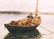 Picknell, William Lamb Man in a Boat oil painting artist