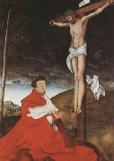 CRANACH, Lucas the Elder Cardinal Albrecht of Branden-burg before the Crucified Christ (mk08) oil painting picture wholesale