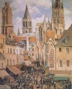 Camille Pissarro The Old Marketplace in Rouen and the Rue de I'Epicerie (mk09) oil painting picture wholesale
