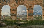 Christoffer Wilhelm Eckersberg View through three northwest arches of the Colosseum in Rome.Storm gathering over the city (mk09) oil painting artist