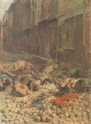 Ernest Meissonier The Barricade,Rue de la Mortellerie,June 1848 also called Menory of Civil War (mk05 oil painting artist