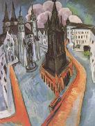 Ernst Ludwig Kirchner The Red Tower in Halle (mk09) oil painting picture wholesale