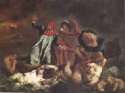 Eugene Delacroix Dante and Virgil (Corssing the Lake That Surrounds the Infernal City) also called the Barque of Dante (mk05) oil painting picture wholesale