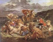 Eugene Delacroix The Lion Hunt (mk09) oil painting picture wholesale