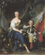 Jean Marc Nattier Mademoiselle de Lanbesc as Minerva,Arming Her Brother the Comte de Brionne and Directing Him to the Arts of War (mk05) oil painting picture wholesale