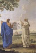 LE SUEUR, Eustache St Bruno Examining a Drawing of the Baths of Diocletian Location of the Future Charterhouse of Rome  (mk05) oil painting picture wholesale
