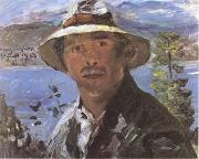 Lovis Corinth Self-Portrait with Straw Hat (mk09) oil painting
