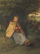 jean-francois millet Woman knitting (san19) oil painting picture wholesale