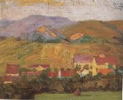 Egon Schiele Village with Mountain (mk12) oil painting artist