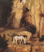 Moritz von Schwind A Hermit Leading Horses to the Trough (mk22) oil painting artist