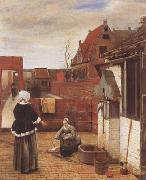 Pieter de Hooch A Woman and her Maid in a Coutyard (mk08) oil painting picture wholesale
