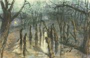 Stanislaw Ignacy Witkiewicz The Planty Park by Night-Straw-Men (mk19) oil painting picture wholesale