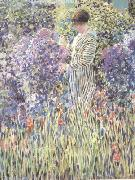 frederick carl frieseke Woman in a Garden (nn02) oil painting picture wholesale