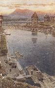 Albert goodwin,r.w.s Lucerne,Switzerland (mk37) oil painting artist