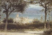 Albert goodwin,r.w.s The Town of Spiez on Lake Thun,Switzerland (mk37) oil painting artist