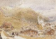 Albert goodwin,r.w.s A Sunday Morning in Engelberg,Switzerland (mk37) oil painting artist