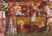 Dante Gabriel Rossetti How Sir Galahad,Sir Bors and Sir Percival were Fed with the Sanc Grael But Sir Percival's Sister Died by the Way (mk28) oil painting picture wholesale