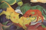 Franz Marc Cows,Yellow,Red Green (mk34) oil painting picture wholesale